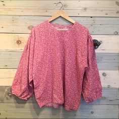Vintage pink cotton boho top No label. Feels like cotton. Fits L or oversized on M Vintage Tops Tunics