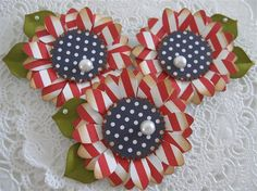 handmade card embellishments ... Vintage Red White Blue Patriotic Flower ... from Etsy store ...