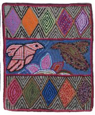 """Handmade Small Two Birds Hooked Rug of Recycled Clothing Guatemala (19"""" x 23"""")"""