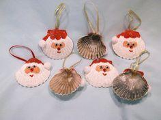 Set of two Seashell Santa Christmas Ornaments by vicscrafts