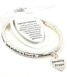 BRACELET / STRETCH / HOOP / ENGRAVED / HEART / SERENITY PRAYER / 5 MM WIDTH / SILVER / LEAD AND NICKEL COMPLIANT
