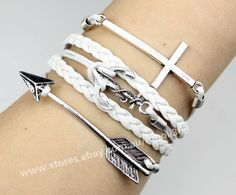 Silvery cross anchor arrow bracelet,white wax rope woven rope charm jewelry gift