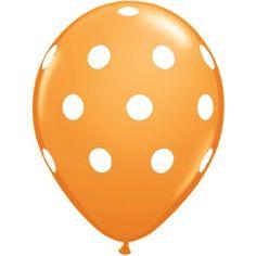 "Orange Polka-Dot 16"" Latex Balloon | 1ct for $0.75 in Balloons - Decorations"