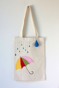 Embroidered Umbrella and Raindrop Cotton Canvas Tote Bag with Felt Raindrop Keychain