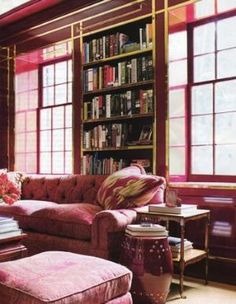 A Lovely Library. Painted Built-In Bookshelves. Interior Design: Miles Redd. by Maiden11976