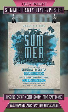 Summer Party Flyer / Poster #summer break #water color • Download here → https://graphicriver.net/item/summer-party-flyer-poster/19478094?ref=pxcr