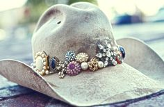 Distressed boho  jewelled hat