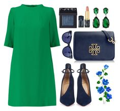 Green and blue! by bliznec on Polyvore featuring Goat, Christian Louboutin, Tory Burch, Kenneth Jay Lane, Linda Farrow, NARS Cosmetics and Oribe