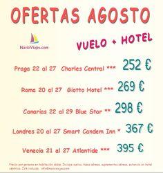 Ofertas de agosto con vuelo + hotel 252 €  #Praga #Roma #Canarias #Venecia #Londres http://navioviajes.com