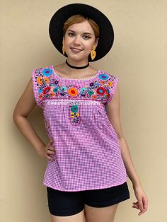 Pink gingham table runner style top, checkered mexican blouse, handembroidered floral top, summer floral outfit, fiesta san antonio, SMALL Mexican Top, Mexican Blouse, Mexican Outfit, Gingham Fabric, Pink Gingham, Floral Tunic, Floral Tops, Picnic Outfits, Romper Pattern