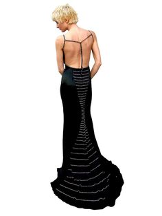 This beautiful gown is great for prom, pageant or any special occasion! The bodice has a sweetheart neckline with spaghetti straps. Under the bust is a sash that come from the side seam and wraps to the opposite side and is attached by a rhinestone broach. The sash goes down from the brooch in front of the slit for a flowing effect when you walk. The back is open and all the straps are embellished with rhinestones and beads. The back skirt is embellished with rows of rhinestones and beads…