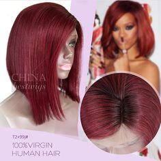 Celebrity Lace Wig T2 99J Silky Straight | Quality Lace Wigs, human hair, China Best Wigs