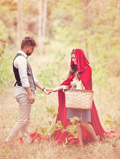 Themes based on fairytales and storybooks. Love this Little Red Riding Hood themed engagement session by my photography idol Three Nails Photography!