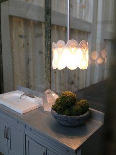 White grille modern Miniature Chandelier. $25.00, via Etsy.