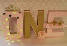 Pink and gold letters Birthday letters by HeidiPartyCreations