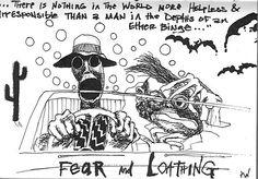 An original sketch by Ralph Steadman for Fear and Loathing in Las Vegas. Ralph Steadman, Fear And Loathing, Hunter S Thompson Quotes, Famous Books, Art Corner, Art For Art Sake, Book Design, Nerd, Las Vegas