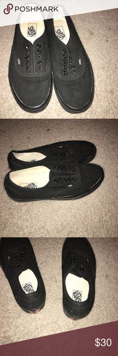 Vans Authentic Black black authentic vans, very good shape I have never worn them but the laces are gone. Vans Shoes Sneakers