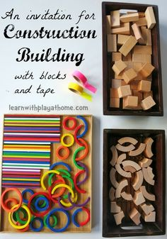 Learn with Play at home: Construction Building with Blocks and Tape