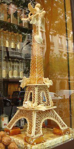 Sugar Eiffel Tower in the window of Charles Traiteur, Paris, 16th