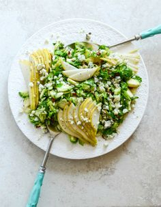 maple bacon brussels, pear and blue cheese salad I howsweeteats.com