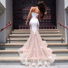 Sexy Appliques Lace mermaid prom dresses 2015 Long Party dresses