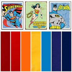 Ethan's color scheme for his Vintage Superhero Bedroom, using primary colors