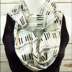 Sheet Music Piano Infinity Scarf Black White Musician gift idea...  This is a stunning Scarf so appropriate for a lover of Music, theater or opera buff, Orchestra member and more...  It measures 13 by 60 and it has Black piano keys on a white background...  Makes a gorgeous Gift  100% Soft Silky Feel Polyester Accessories Scarves & Wraps