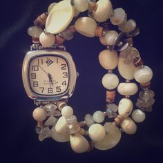 Silpada Watch/ RETIRED 3 bead and stone bands add a touch of fun and style to this hard to find Silpada watch. Bracelet style watch stretches to fit any wrist. Gorgeous! NWOT Silpada Accessories Watches