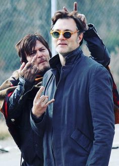 """Norman Reedus and David Morrissey behind the scenes of S3 Ep16 Finale """"Welcome to the Tombs"""" #worldofwalkingdead   #thewalkingdead  #thewalkingdeadamc  #amcthewalkingdead  #walkingdead  #twd  #amctwd  #twdamc"""