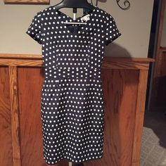 Classic navy dress with white polka dots BR navy sheath dress with white polka dots 0P Banana Republic Dresses