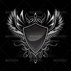 Illustration about Spres Winged Gothic Shield Insignia with Some Ornaments. Illustration of tattoo, style, spread - 7495629 Graphisches Design, Vector Design, Logo Design, Design Patterns, Shield Tattoo, Sword Tattoo, Free Vector Art, Vector Graphics, Knight Tattoo