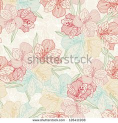 Abstract vintage seamless flower pattern with orchid. - stock vector
