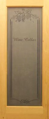 Etched Glass and Frosted Art Glass Wood Doors - wine cellar....