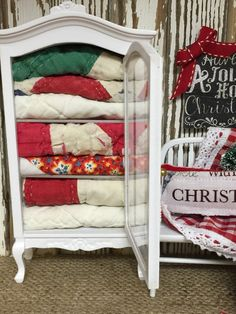 Christmas Quilt Hutch-miniature 1:12 Scale by RibbonwoodCottage