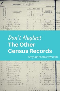 Census records reveal so much about our ancestors. There's more than just the Federal census. Explore the other types of census records for your genealogy.