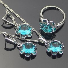 Blue Topaz 925-sterling-silver  Bridal Jewelry Sets For Women Sliver Flower Pendant/Necklace/Earrings/Rings Free Gift Box