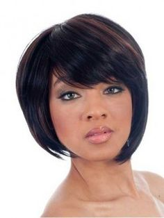 Our Discount Asymmetrical Bob Side Swept Bangs Synthetic Wig Can Make You Noticeable In The Public, No Hesitation & Take Action Now | D4 wwb166