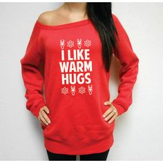 Off Shoulder I Like Warm Hugs Sweatshirt Fleece Ugly Christmas Sweater... ($36) ❤ liked on Polyvore featuring tops, hoodies, sweatshirts, black, tanks, women's clothing, sweatshirt hoodies, black off shoulder top, black off the shoulder top and sweat shirts