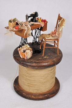 Miniature Sewing Scene on old string spool   Flickr - Photo Sharing!