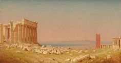 The Ruins of the Parthenon (Sanford Robinson Gifford). (saw this @ NGA August Sander, Albert Bierstadt, Simple Oil Painting, Oil Painting On Canvas, Alphonse Mucha, Vintage Art Prints, Vintage Wall Art, Hudson River School, Ruins