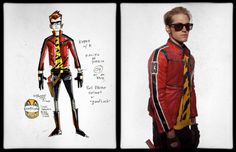 Gerard Way's concept art for the Killjoy character Kobra Kid, side by side with the final design worn by Mikey Way | Make a wish when your childhood dies Tumblr | Explaining the world of the Killjoys in complete and total detail.
