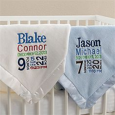 Personalized Birth Announcement Baby Blanket - comes in colors for boys and girls. LOVE this as a baby gift idea because you can personalize it with ALL of the baby's birth info - great way to remember the big day!