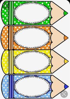 Risultati immagini per distintivos escolares de lapiz Classroom Labels, Classroom Rules, Classroom Design, Classroom Decor, Class Decoration, School Decorations, School Border, Page Borders Design, School Labels