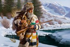 Lone Trapper with Hudson Bay Blanket coat by Alfredo Rodriguez Canadian History, Native American History, Native American Indians, Native Indian, Rocky Mountains, Le Castor, Mountain Man Rendezvous, Fur Trade, American Frontier