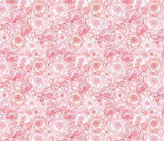 Poppies Line Art fabric by oksancia on Spoonflower - custom fabric