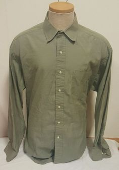 Tommy Hilfiger Men's Button Down Shirt Long Sleeve Green Size 17 34 35 Free SHIP | eBay