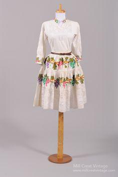1950's Silk Embroidered Peasant Vintage Wedding Dress : Mill Crest Vintage