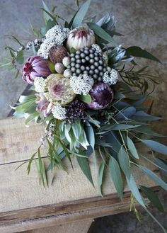 January Wedding Bouquet Soft pinks and mint greens were the colours for this January wedding. The bride loved eucalyptus and gum nuts. Beautiful Flower Arrangements, Love Flowers, Beautiful Flowers, Large Floral Arrangements, Floral Bouquets, Wedding Bouquets, Protea Bouquet, Flor Protea, Floral Wedding