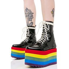 Current Mood Rainbow Stacked Platform ($95) ❤ liked on Polyvore featuring shoes, black laced shoes, lightweight shoes, black wedge heel shoes, wedge heel shoes and patent leather wedge shoes