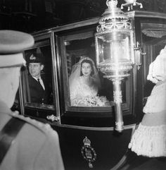 <b>Not originally published in LIFE.</b> Princess Elizabeth and Prince Philip leave Westminster Abbey after their wedding, Nov. 20, 1947.
